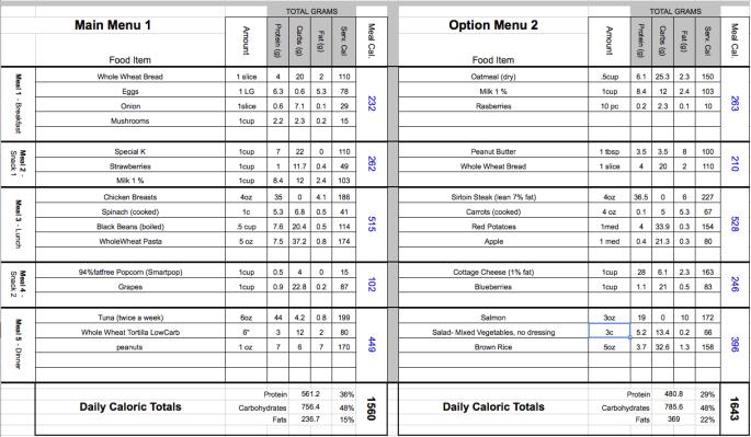 Sample menu matrix